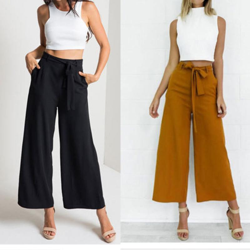 Compre Nuevo Best Seller Moda Moda Mujer Palazzo Pantalones Ladies Solid Cintura  Alta Elegante Pierna Ancha Culottes Pantalones Largos A  23.04 Del Freea ... e75c5d6b27e9