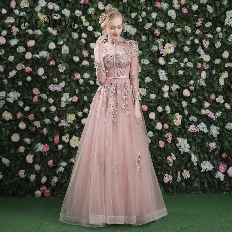 6aec1eeb02c 2019 It S Yiiya Evening Dress Pink Long Sleeves Floral Print Lace Up A Line  Floor Length Party Gown Evening Gowns Prom Dresses LX028 C18111601 From ...