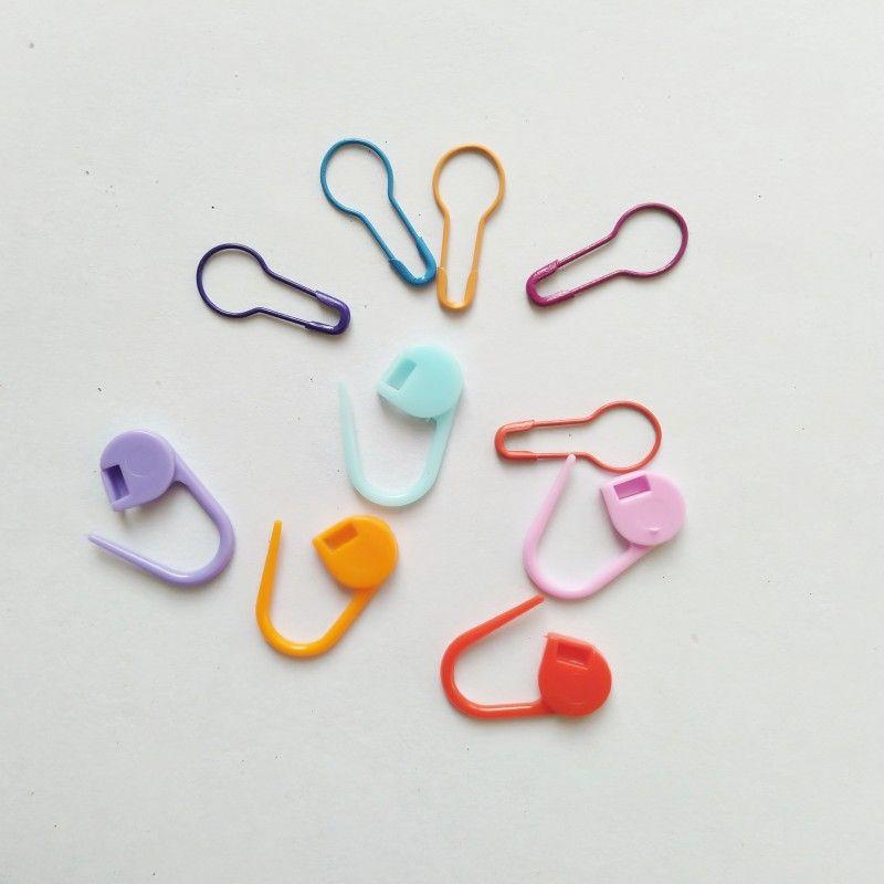 200 piezas marcador de punto de tejer incluyen 50 piezas de plástico pin de seguridad y 150 piezas de bulbo en forma de perno de seguridad