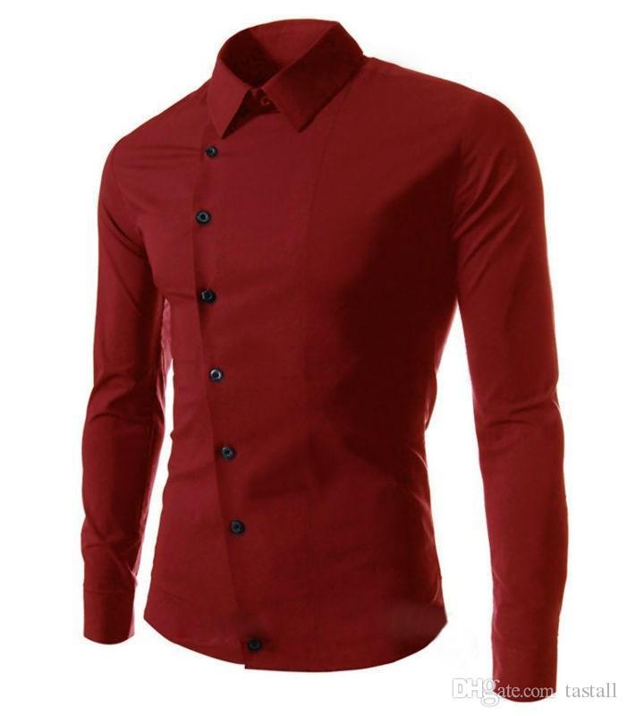 Spring Fashion New Casual Shirts Men Korean Slim Design Side Button Long Sleeve Shirts