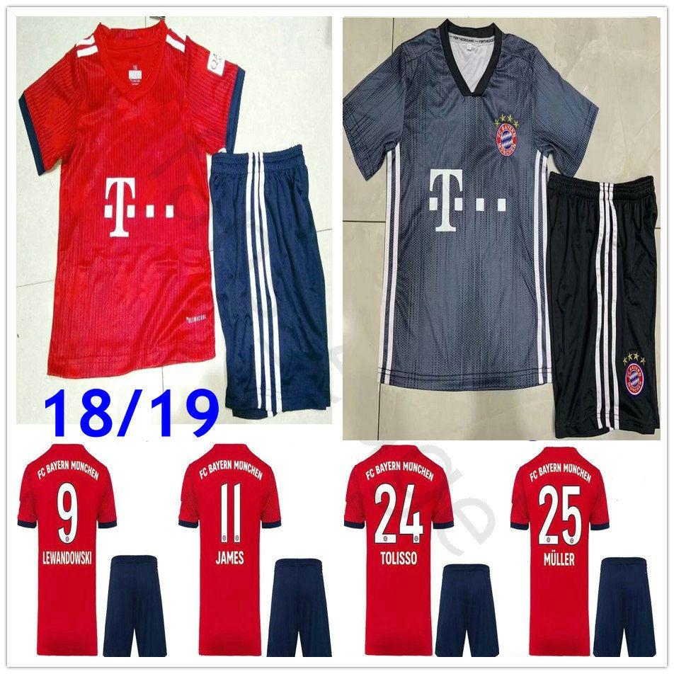 buy online 16258 b6cb2 Kids Bayern Munich Soccer Jerseys JAMES KIMMICH RIBERY MARTINEZ LEWANDOWSKI  ROBBEN MULLER 18 19 Custom Youth Home Away Football Shirt