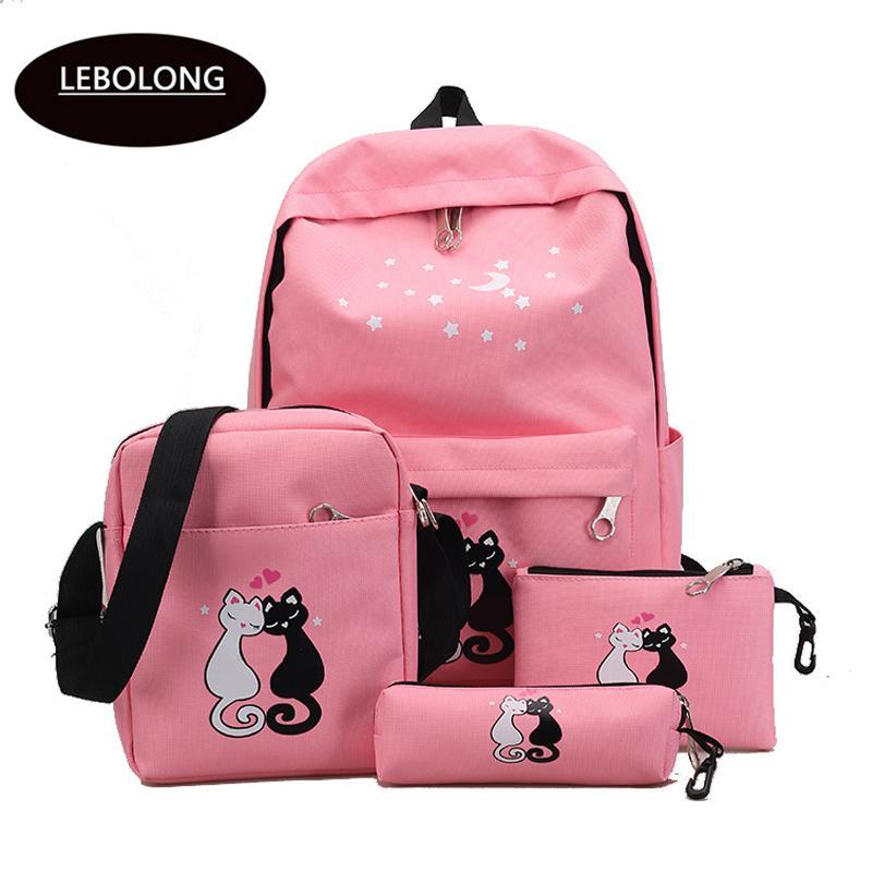 9e8b7e992e8f Fashion Women Backpack Cute Printing Schoolbag Korean Rucksack High ...