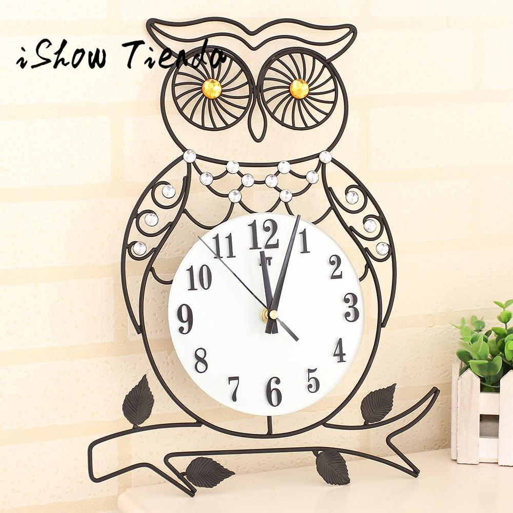 2017 New Fashion 3D Metal Wall Clock Diamonds Owl Non Ticking Silent  Dazzling Clock For Home Kitchen Office #35 Fashion Wall Clocks Wall Clock  Metal Wall ...