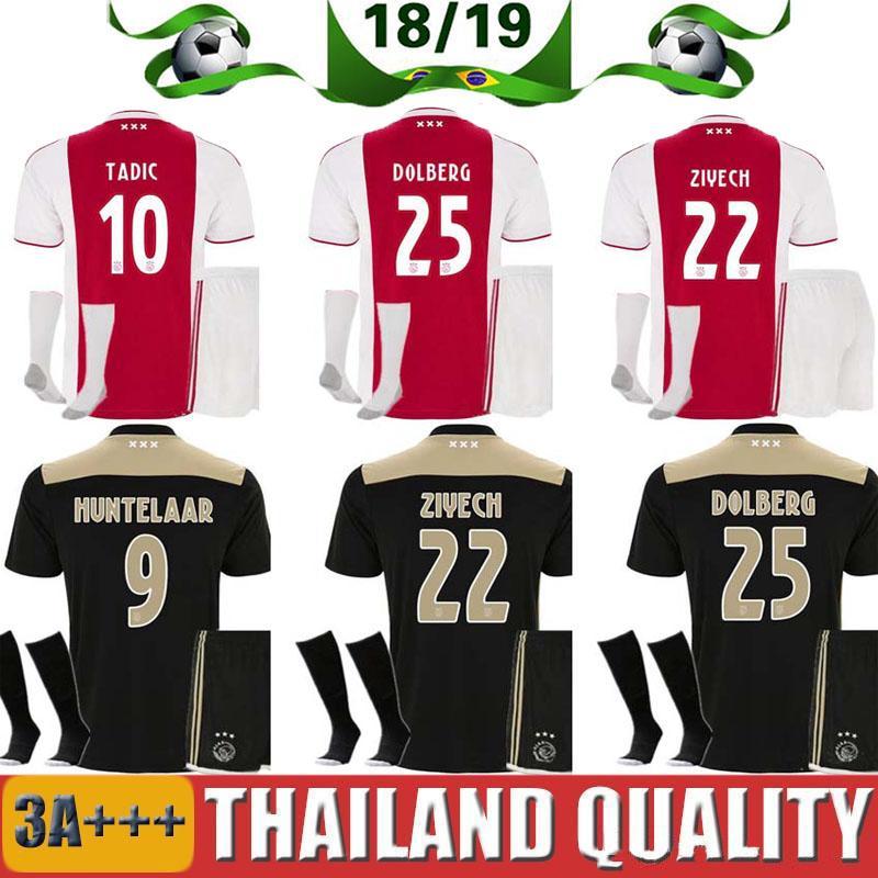 75b39f58f 2018 AAA+ Ajax Soccer Jersey Aduit Suites 2018 2019 ZIYECH Home Red   White  Away Black NOURI DOLBERG YOUNES HUNTELAAR VAN DE BEEK Kits Maillot From .