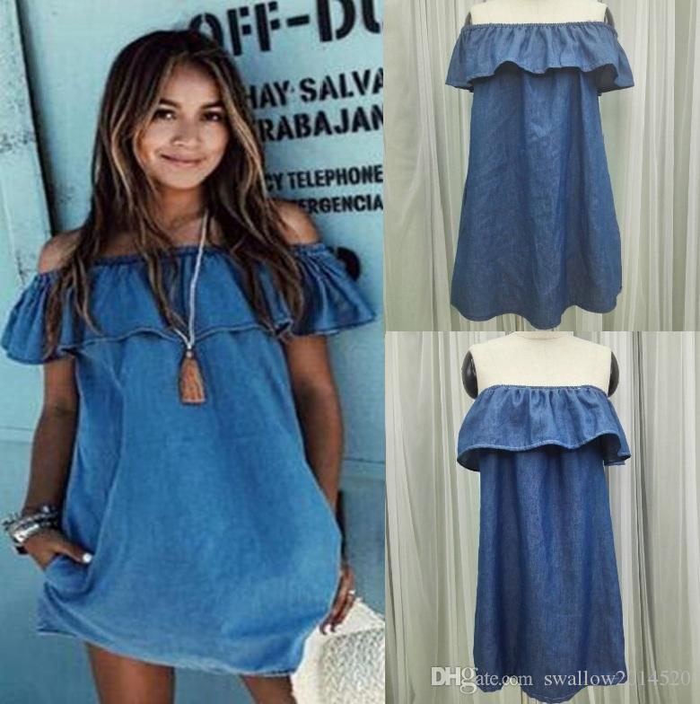 a58256c882f0d Summer Womens Dresses Boho Jeans Mini Dress Strapless Casual Beach Shorts  Sun Dresses Imitation Jean Sleeveless Boat Neck Casual Dresses Womens  Dresses Boho ...