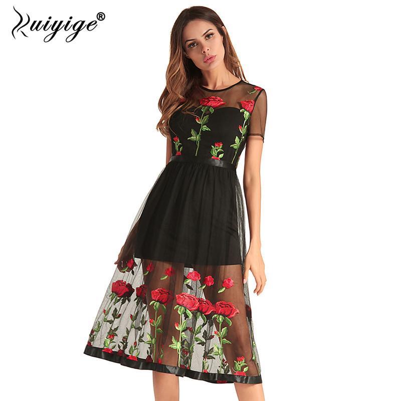 396f05d63a304 Ruiyige 2018 Women Sexy Floral Print Dress Embroidery Hollow Out Boho Party  Summer Midi Dress Elegant Zip Lining Beach Vestidos