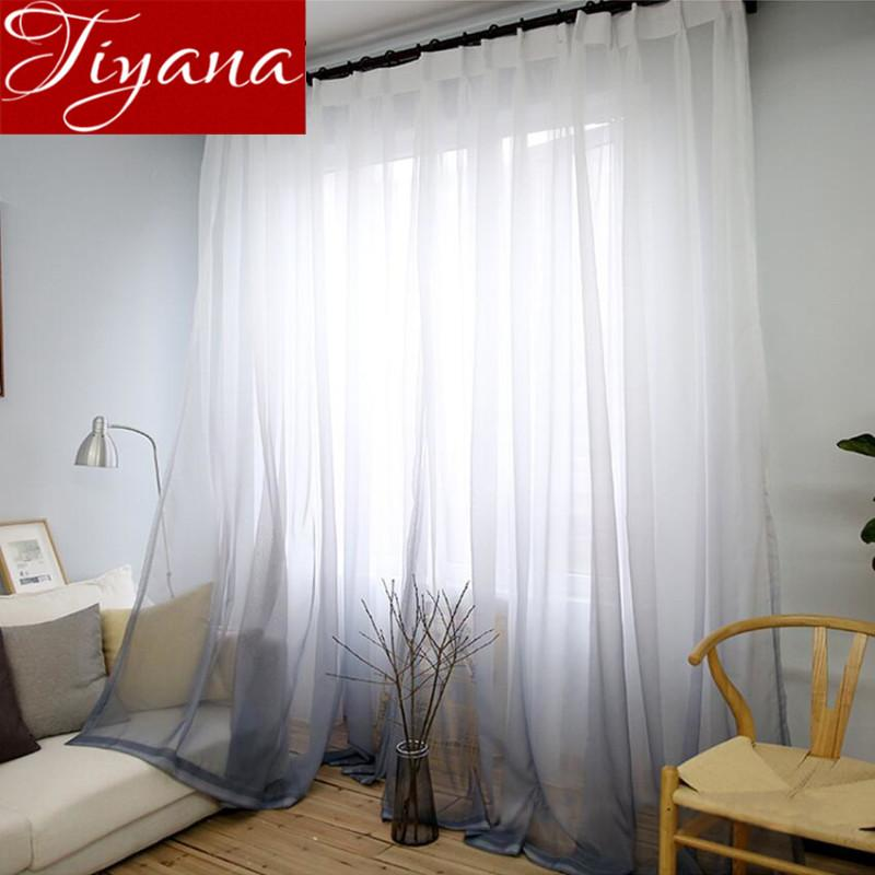 Curtains Gradient Color Print Voile Gray Window Modern Living Room Curtains  Tulle Sheer Fabrics Rideaux Cortinas Tu0026185 #30 Curtains Tulle Curtain  Gradient ...