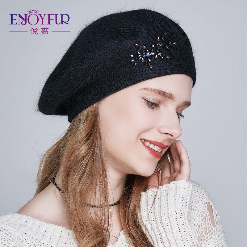 fb1aea1cb80c9 Compre ENJOYFUR Sombrero De Boinas Para Las Mujeres De Lana Tejida  Sombreros De Invierno Con Diamantes De Imitación Gorros Sombrero Niñas A   24.43 Del ...