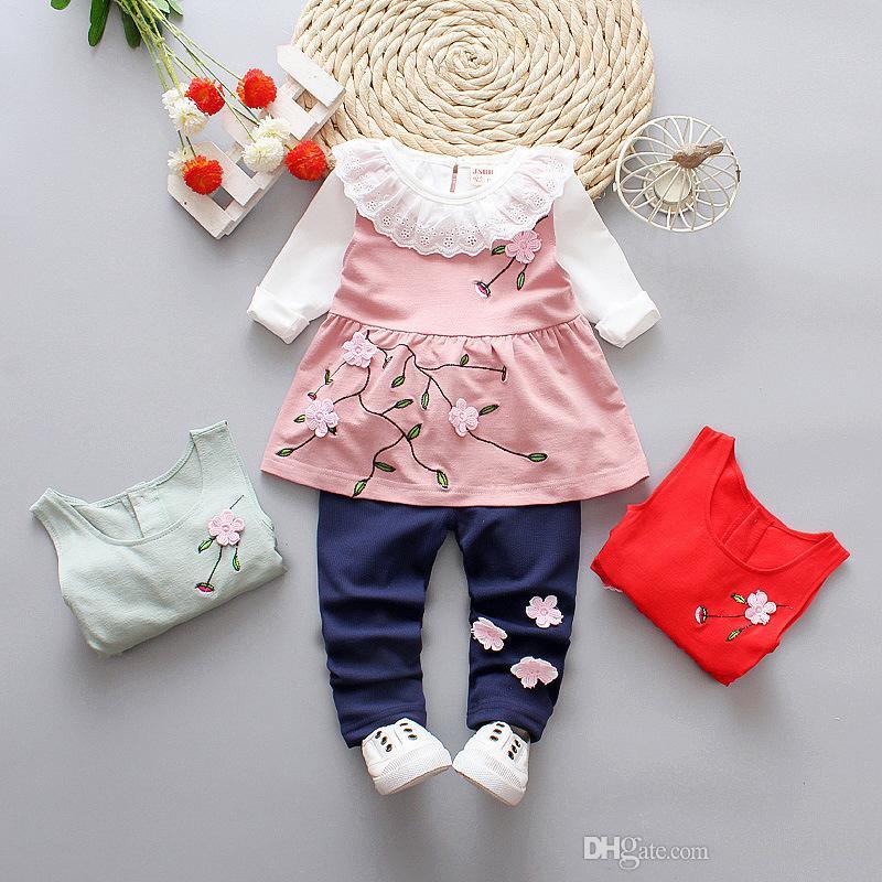40fe8eb27 2018 Baby Girls Clothing Sets Spring Autumn Cotton Full Sleeve ...