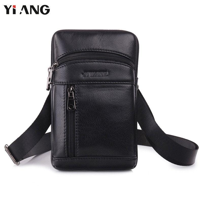 YIANG Genuine Leather Messenger Bags Men S Small Cross Body Shoulder Bag  Travel Style Waist Belt Bags For Man Waist Pack Black Black Leather  Handbags Small ... 8bd096f3d7bbd