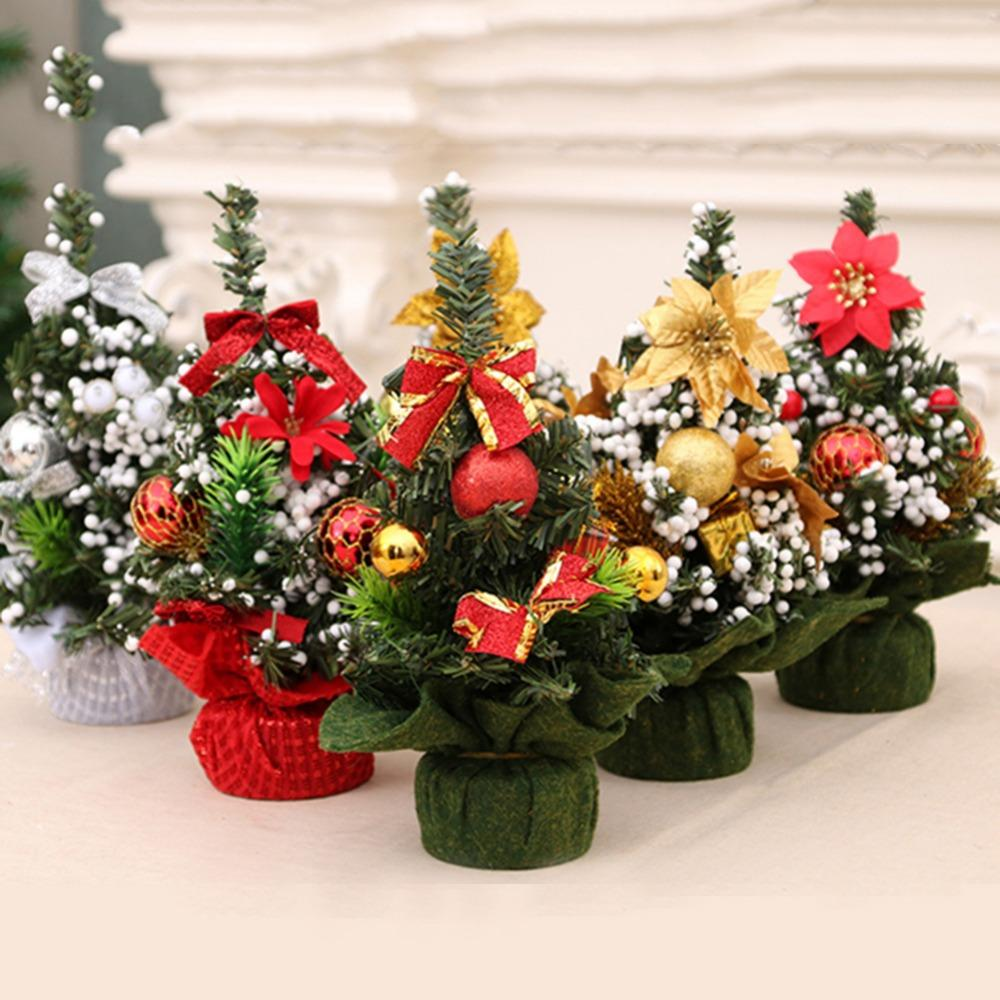 mini christmas tree with bells pine cones flowers bows snowflakes to christmas decoration theme for hotel home shop party christmas home decorations - Mini Christmas Decorations