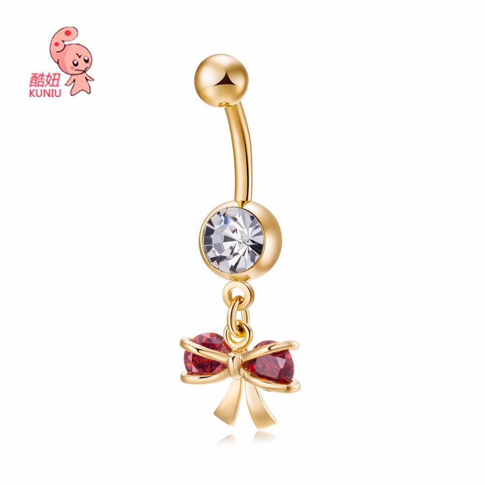 2017 New Hot Luxury Zircon Crystal Bow-knot Belly Button Rings Women Body Jewelry Gold Zircon CZ Navel Piercing Belly Piercing