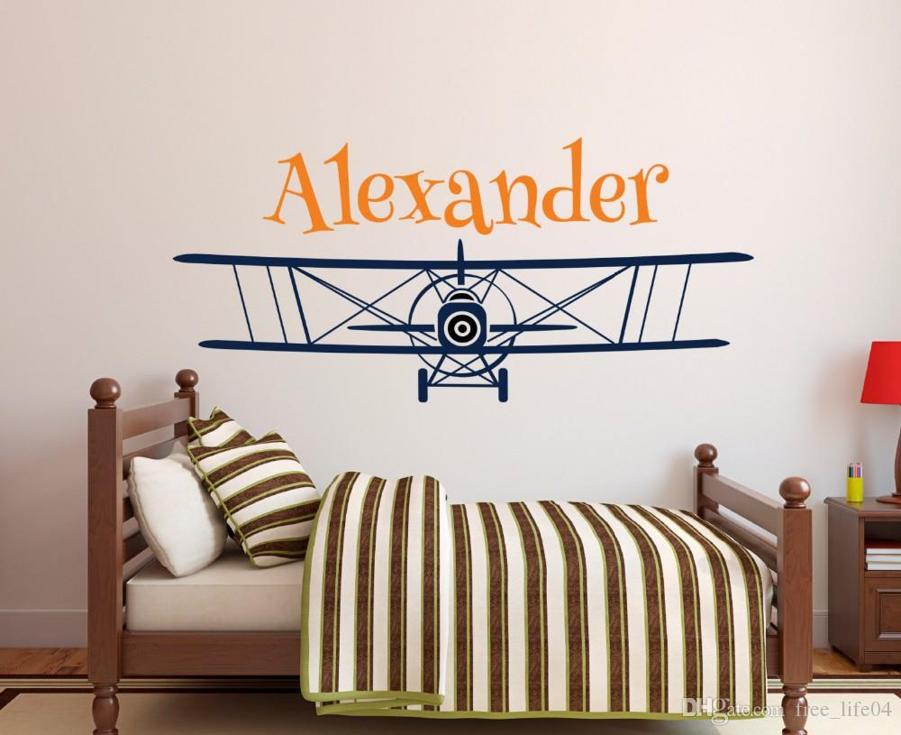 Large Size Personalized Airplane Name Wall Decal Custom Boy's Name Wall Stickers For Kids Room Nursery wall Art Mural