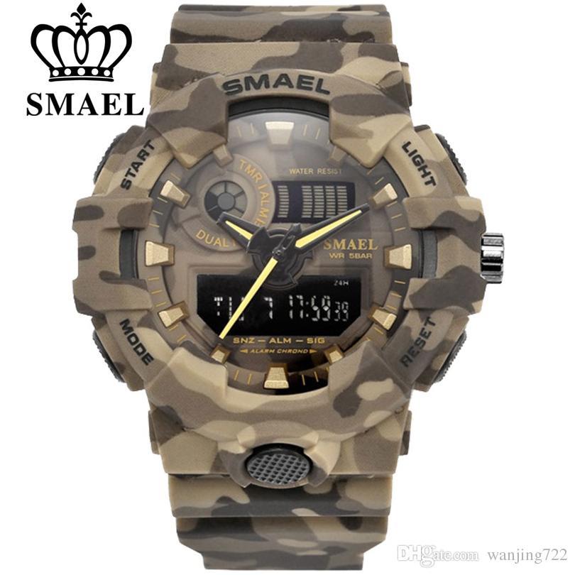 17120b00f22 Compre SMAEL Esporte Relógio Relógios Militares Homens Do Exército Digital  Writwatch LED 50 M À Prova D  Água Relógio Masculino Relógios De Presente  ...