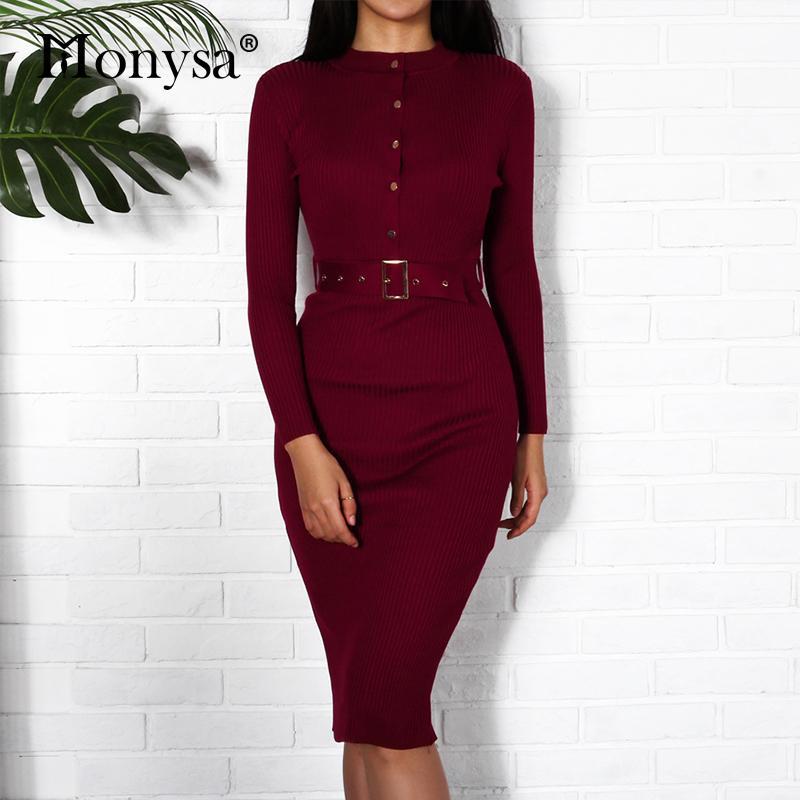f1362508dd3e0 Acheter Femmes Midi Robe Pull Automne Hiver 2018 Nouvelle Mode Bouton À  Manches Longues Crayon Robe Tricotée Femmes Moulante Noir Rouge De  30.6 Du  Salom ...
