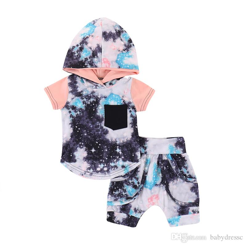2019 Boy Back To School Two Piece Clothes Star Pattern Hoodies