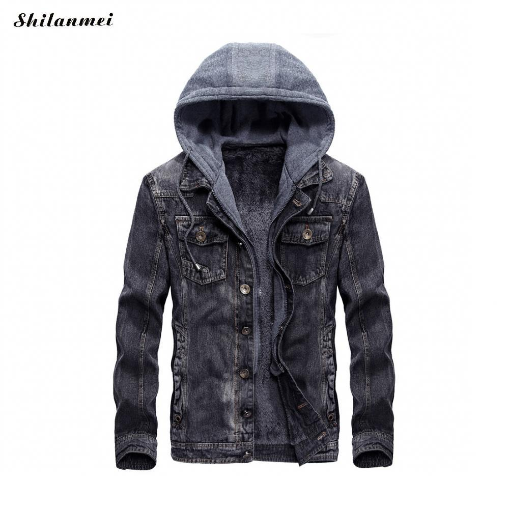 Brand New Winter Denim Jacket Men Fleece Lined Thick Warm Detachable Hooded Men Bomber Military Jeans Jacket Outwear Coat Jackets & Coats