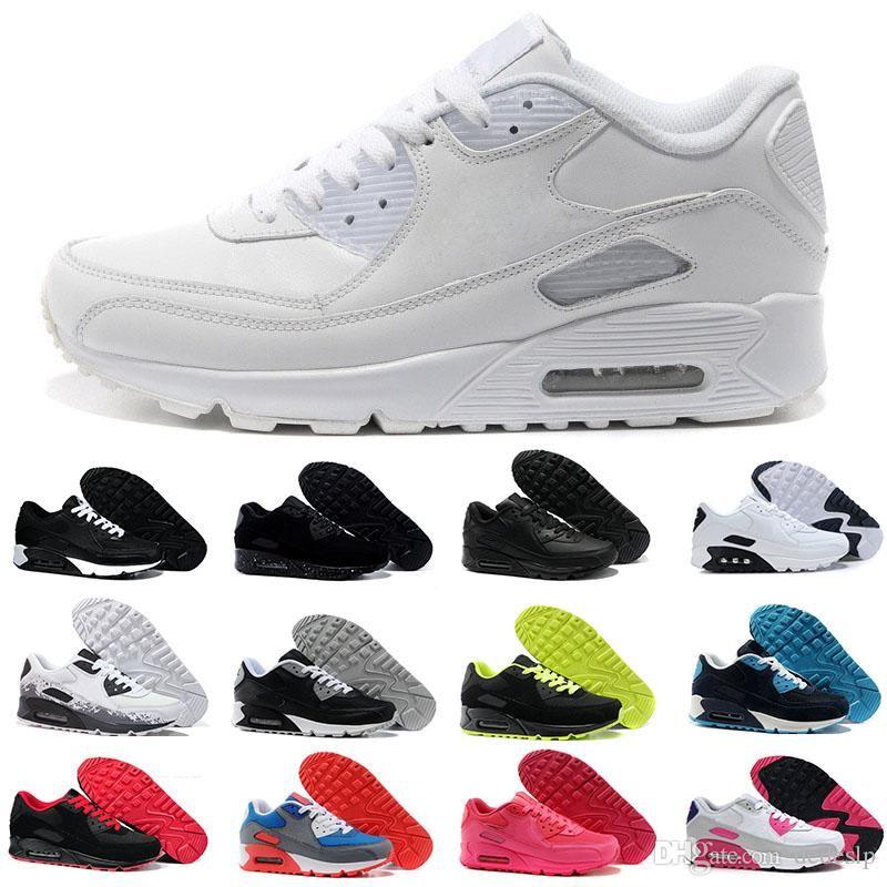 2486b22858a5f Acheter 2018 Nike Air Max 90 Airmax 90 NOUVEAU Mens Sneakers Chaussures  Classique 90 Hommes Casual Chaussures Noir Rouge Blanc Sport Formateur  Coussin ...