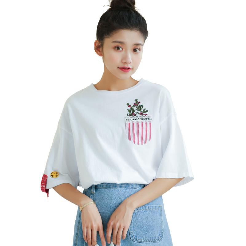 804d50812a Women S Korean Ulzzang Round Neck Short Sleeve Tshirt Face Badge Embroidery  Fashion Harajuku Vintage T Shirt For Female T Shirt Shirt Designs T Shirt  Shop ...