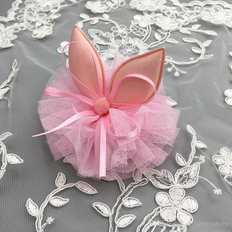 2018 Kids Rabbit Ears Hairpin Modish Girls Cartoon Clip Ribbon Bows Wool Ball Gauze Barrettes Tulle Hair Clip