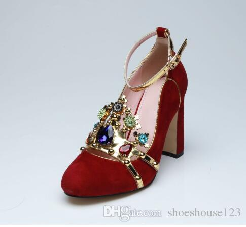 82638f138 Red Suede Block Heels Women Shoes Gorgeous Rhinestone High Heels Wedding  Shoes Round Toe Ankle Buckle Women Pumps Womens Loafers Bamboo Shoes From  ...