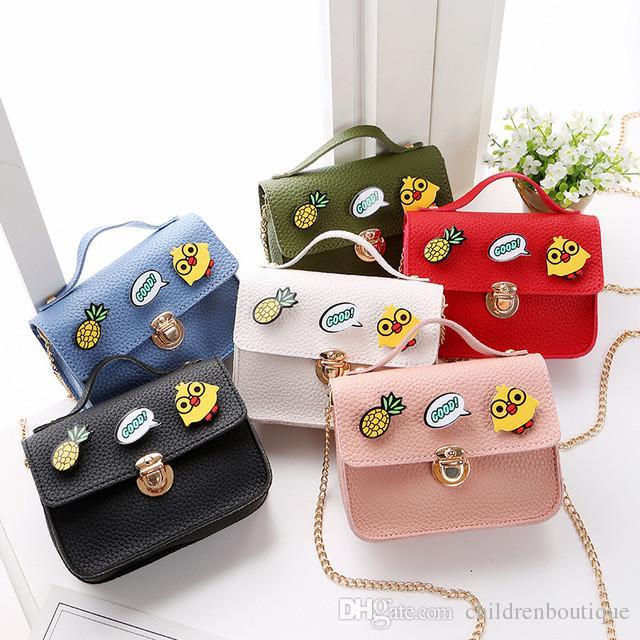 2018 Fashion Spring Children Handbag For Girls Small Bag Chicken Pineapple  Badge Toy Toddler Messenger Bag PU Leather Kids Wallet Bag Harajuku Purses  Pink ... 6a091264530a0