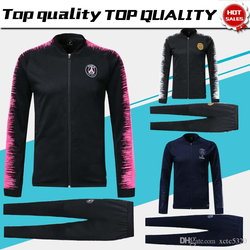 check out 5d9e8 ed1e2 PSG black Long Sleeve Jacket Suit Kit Soccer Jersey PSG Training Uniform  2018/19 Paris Saint-Germain Football Suits Jacket Pants