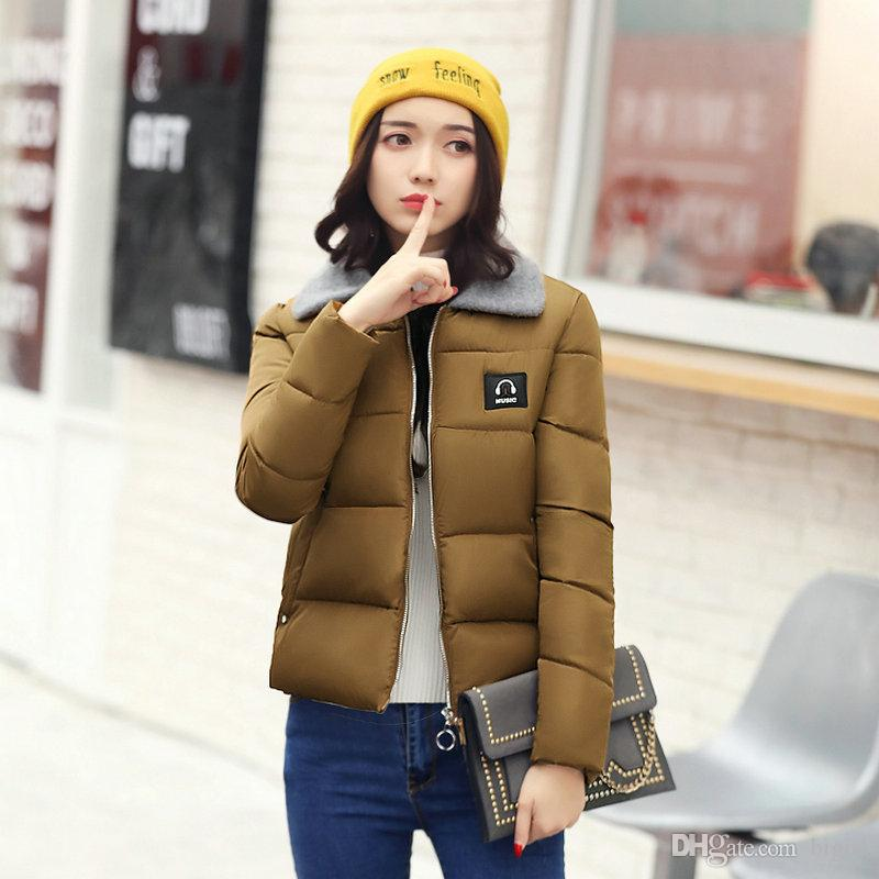 Newl Slim Warm Solid Color Women Fashion Fur Collar Warm Cotton Short Style Jacket Coat Layer Of Warmth Decoration For Lady ' s Outwear