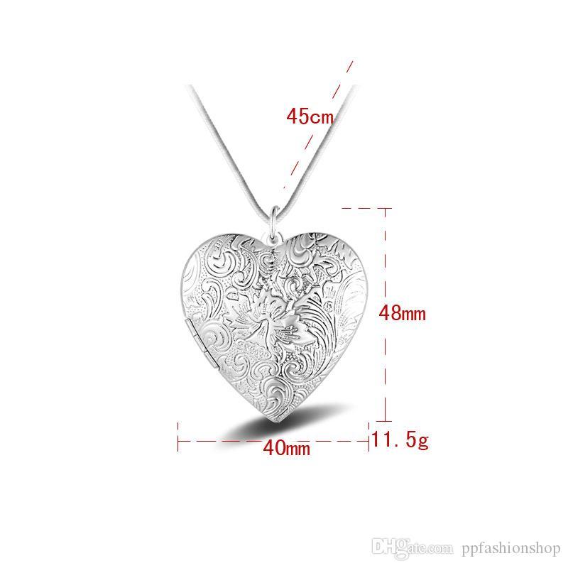 المجوهرات الفضية قلادة غرامة الأزياء على شكل قلب مربع قلادة 925 مجوهرات الفضة مطلي قلادة المعلقات الأزياء هدية قلادة أعلى جودة