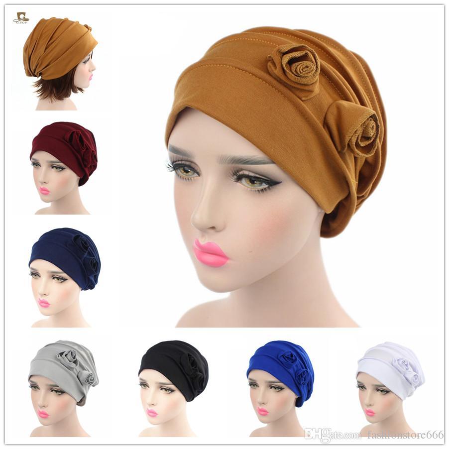 Compre Mujeres Musulmanas Flor Elástica Sombrero De Turbante De Algodón  Chemo Gorros Bandana Headwear Head Wrap Hijab Pérdida De Cabello Plisada  Para El ... 89989116ded