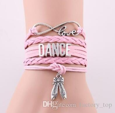 DHL Infinity Love Bracelet Dance Dancer Multilayer Braided Charm Leather Wrap Bracelets For Women Men Girls Jewelry