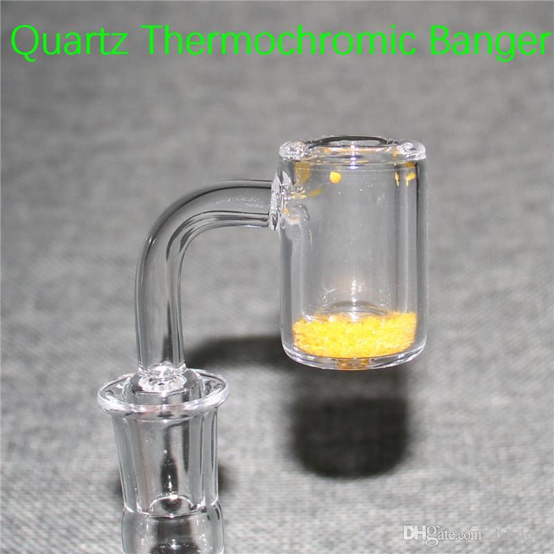 Quartz Thermochromique Seau Banger Nail Domeless Banger Thermique Ongles 10mm 14mm 18mm Mâle Femelle 25mm OD Coloré Pour Verre Bangs Oil Rigs