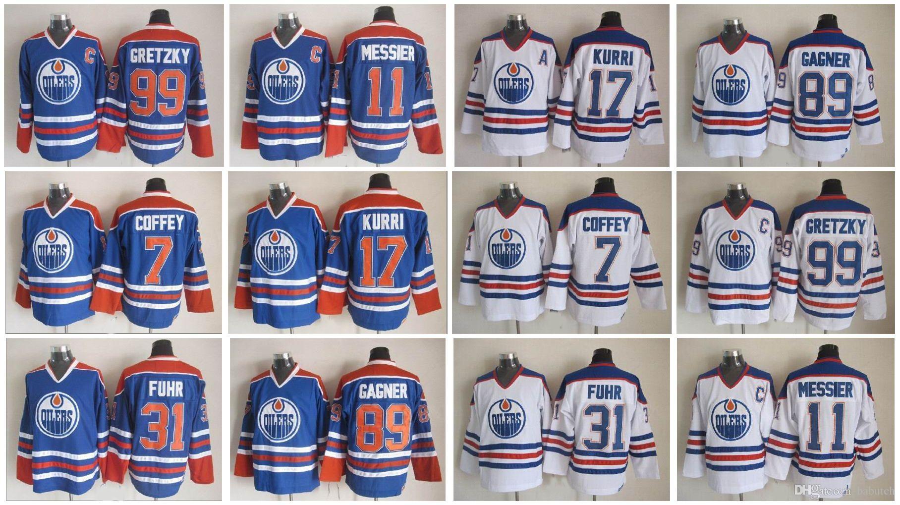 Edmonton Oilers Hockey Jerseys Sam Gagner 7 Paul Coffey 11 Mark Messier 17  Jari Kurri 31 Grant Fuhr 30 Bill Ranfrd Vintage Jerseys Detroit Red Wings  Gordie ... ed7ab3076