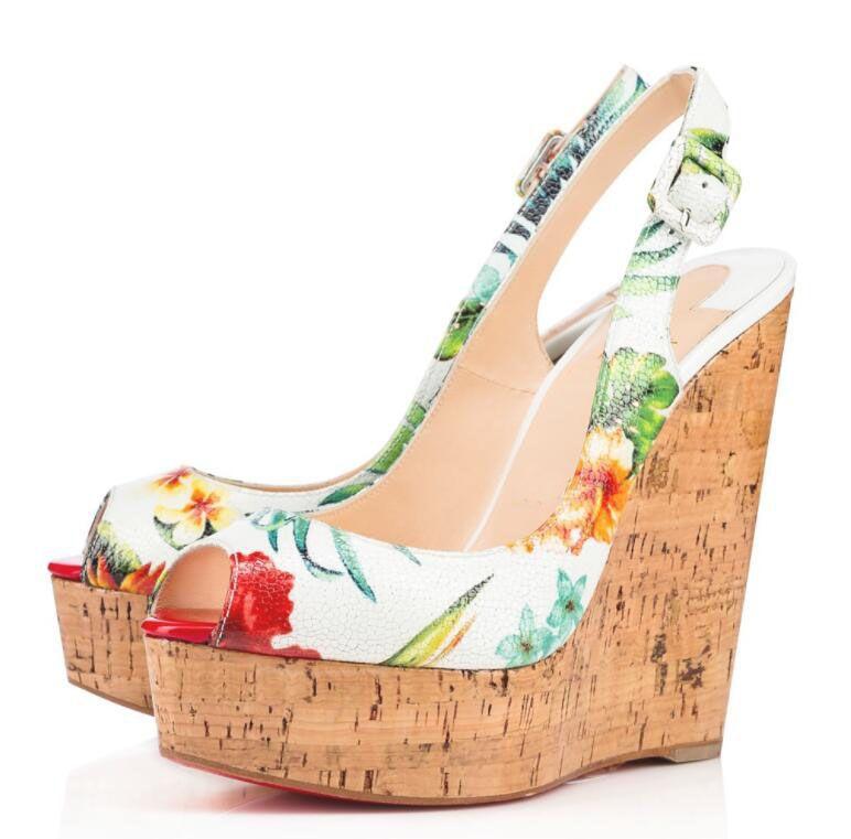 brand new 7968e 293e6 Luxury Brand Ladies Red Bottom Wedges Une Plume Sling Peep Toe Slingback  Women s Pumps Lady Evening Wedding Dress Sandalias Mujer EU35-42