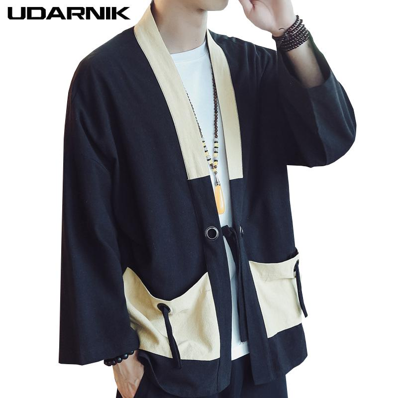 Men Linen Kimono Jacket Thin Japanese Style Pockets 3 4 Sleeve