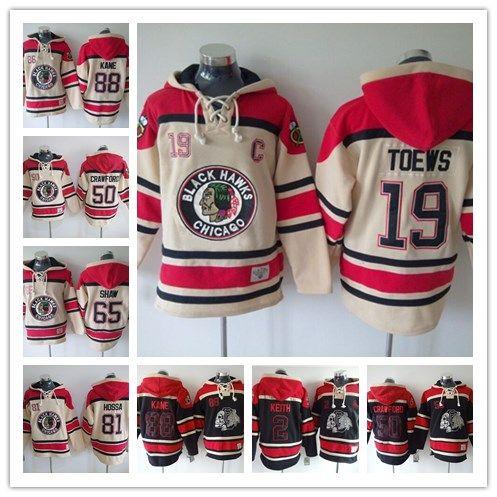 Chicago Blackhawks Hockey Men Jerseys 19 Toews 2 Keith 10 Sharp 65 Shaw 50  Crawford 88 Kane Hockey Hoodie Hooded Sweatshirt Jackets Jersey Kane Hockey  ... d4895eb9cf5