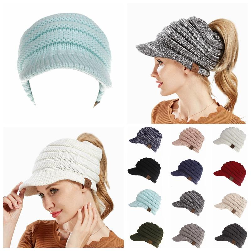 1c623662c5c CC Beanies Hats Winter Knitted Cap Brim Ponytail Messy Bun Solid Ribbed  Beanie Warm Headwear Outdoor Cap DDA661
