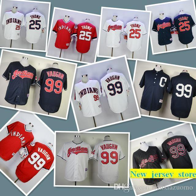 8261848a482 2019 Mens Indians 25 Jim Thome 99 Ricky Vaughn 100% Stitched ...