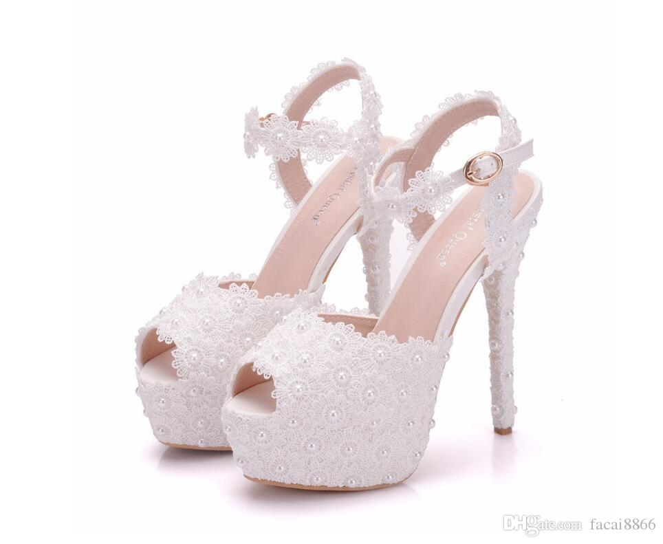 Women Super High Heel Wedding Pumps 14cm Peep Sweet Sexy Party Shoes Lady  Lace Flower Platform 4CM Thin Heels Sandals Wedding Shoes Wedges From  Facai8866 e61e6d6f398c