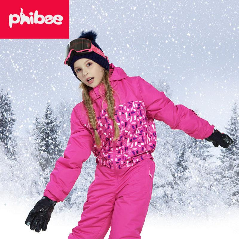 d1ab63379 2019 Winter Girls Snowboard Ski Suits Children Outdoor Waterproof Windproof  Thicken Jacket Pants Kids Clothes Set From Qingbale, $105.24 | DHgate.Com