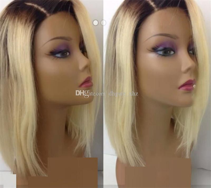 #1BT#613 Blonde Color Dark Roots Brazilian Non-Remy Human Hair Full Lace Wig Ombre Blonde Human Hair Wigs