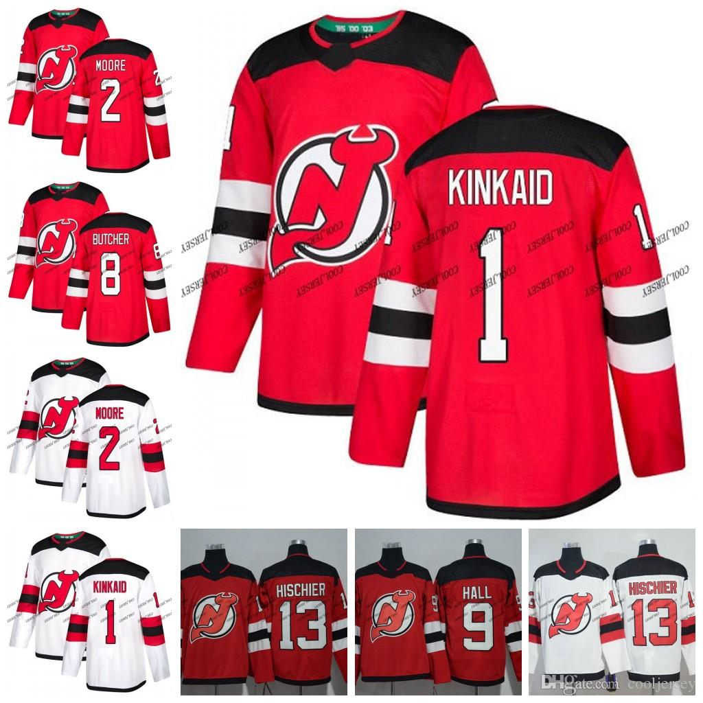 buy popular 0d766 e82ab Custom New Jersey Devils #2 John Moore 1 Keith Kinkaid 8 Will Butcher 10  Jimmy Hayes Hockey Jerseys White Red Stitched