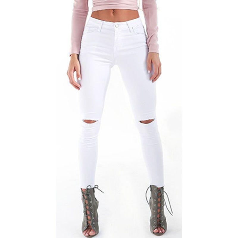 Acheter Style Du0027été Blanc Trou Déchiré Jeans Femmes Jeggings Cool Denim Taille  Haute Pantalon Capris Femme Skinny Noir Occasionnels Jeans De $31.8 Du ...
