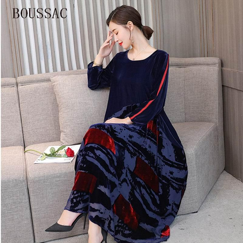 39e37713f45 2019 Big Size New Design Chinese Style Women Robe Velvet Color Block  Patchwork Elegant Autumn Loose Print Silhouette Bottom Dress Hot From  Songzhi