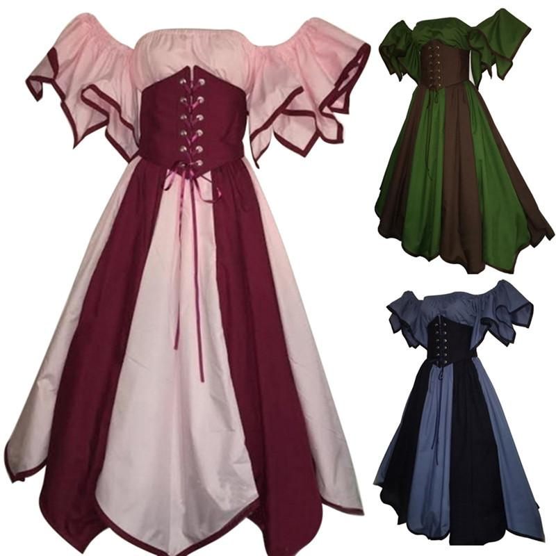 Women\'S Vintage Medieval Gown Costume For Halloween Fantasy Party ...