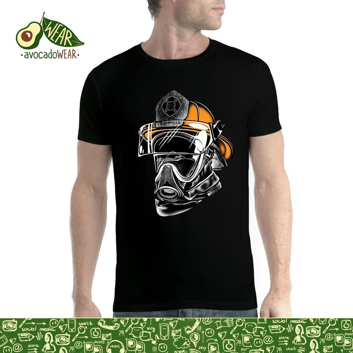 7300af59e161f Compre Máscara De Bombero Casco De Bomberos Para Hombre Camiseta XS 3XL  Camiseta De Manga Corta Tops De Algodón Puro Cuello Redondo Para Hombres  Camiseta ...