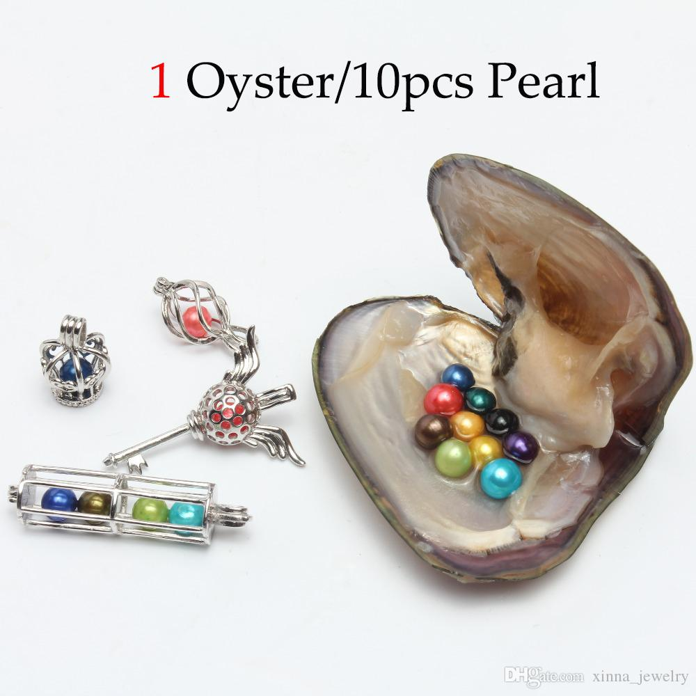 Wholesale 2019 DIY 6-7mm round Pearl Oyster 25 mix color freshwater Natural pearl Gift DIY Loose Decorations Vacuum Packaging