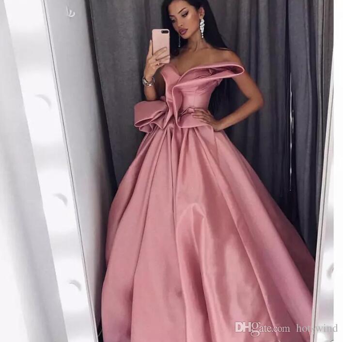 3c2d424b81 Compre Dusty Pink Una Línea De Raso Vestidos De Baile Largos 2019 Recién  Llegado De La Calle Strapless Plisados acanalada Vestido De Fiesta De Satén  ...
