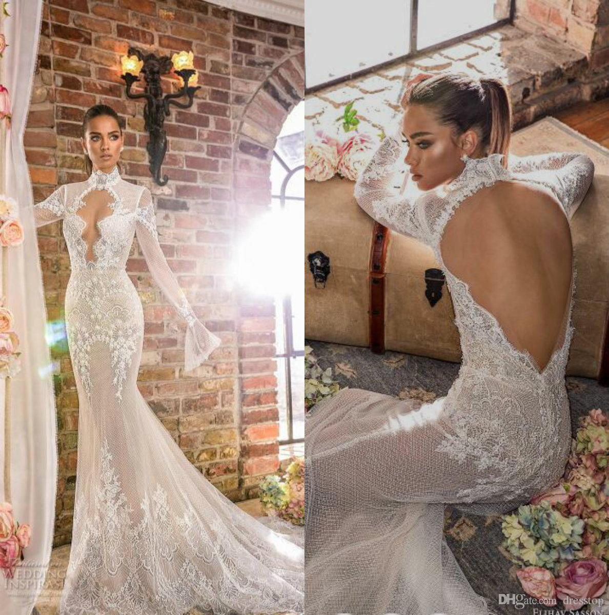 73f0194088d4 Elihav Sasson 2019 Mermaid Wedding Dress Long Sleeve High Neck Backless  Lace Bridal Gowns Robes De Mariée Custom Beach Wedding Gowns Alfred Wedding  Dresses ...