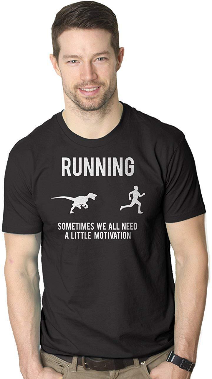 2bea967c 2019 Summer T Shirt Men's Running Motivation Raptor Chase T Shirt Funny  Dinosaur Tee for Guys T-Shirt